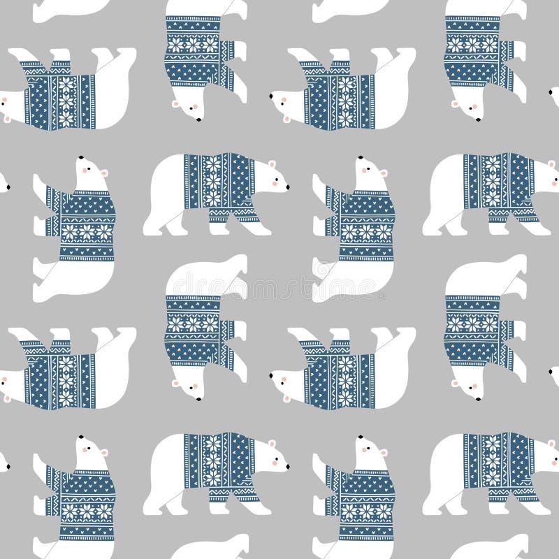 Handgezogene nette Vektoreisbären in der Winterkleidung stockfotografie