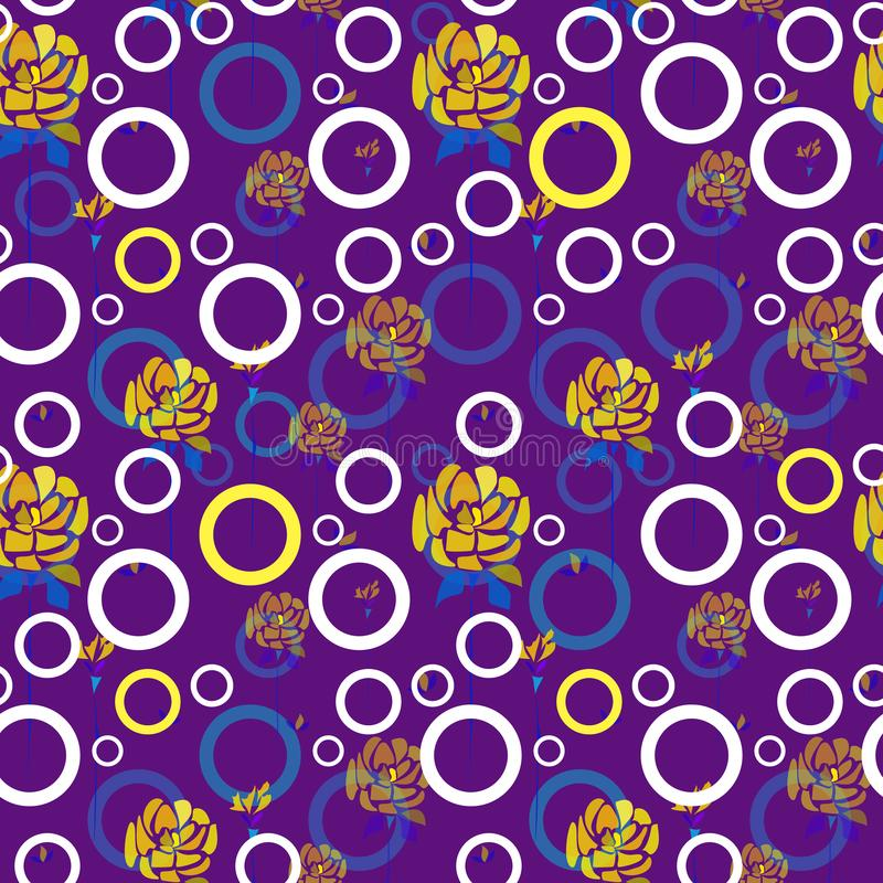 Handgezogene Rosenblumen und -kreise auf purpurrotem Hintergrund lizenzfreie abbildung