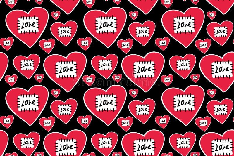 Handgezogene rote Herzen im weißen Entwurf mit Flecken genähtem Faden und schwarzem Wort stock abbildung