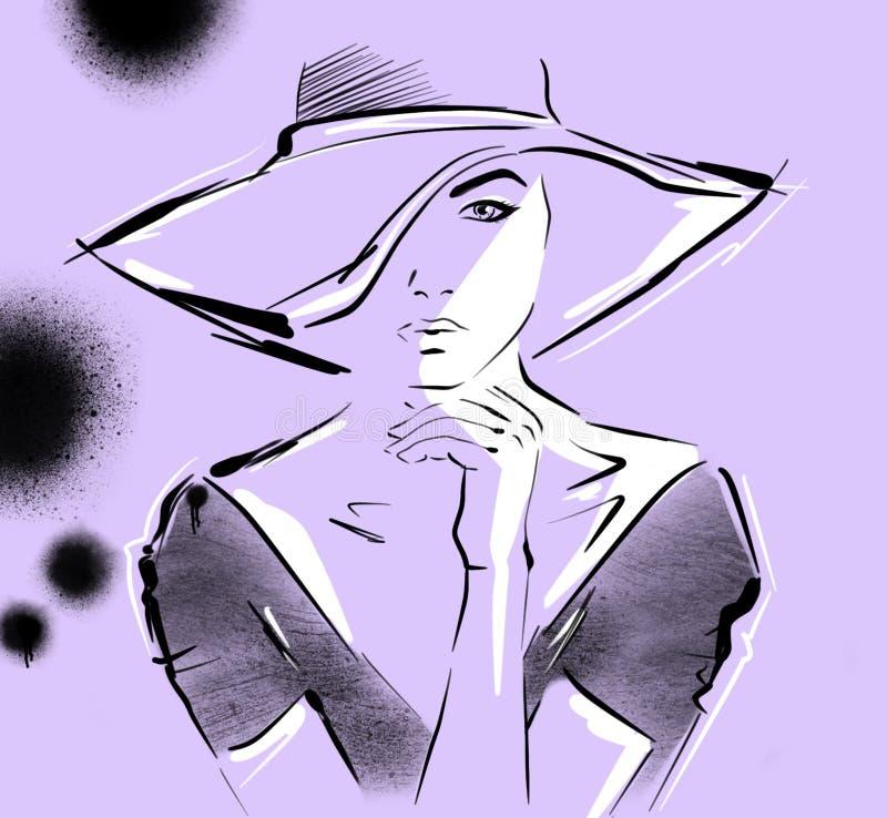 Handgezogene schöne junge Frau im Kleid und im großen Hut Stilvolles Mädchen, Modefrauenblick skizze ultraviolett stock abbildung