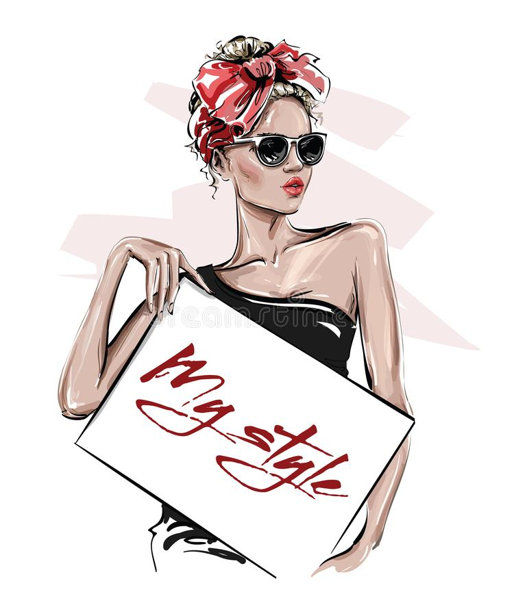 Handgezogene schöne junge Frau in der Sonnenbrille, die Plakat hält Stilvolles Mädchen mit Bogen auf ihrem Kopf Modefrauenblick s vektor abbildung