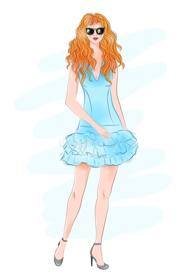 Handgezogene schöne junge Frau mit dem gelockten roten Haar Art und Weisefrau Stilvolles nettes Mädchen in der Sonnenbrille skizz stock abbildung