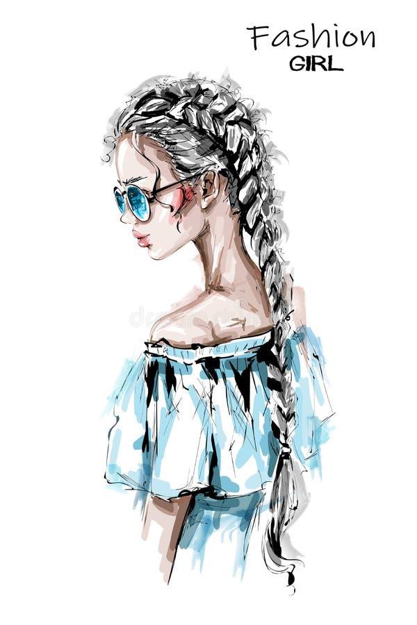 Handgezogene schöne junge Frau mit langer Borte Stilvolles elegantes Mädchen in der Sonnenbrille Modefrauenblick vektor abbildung