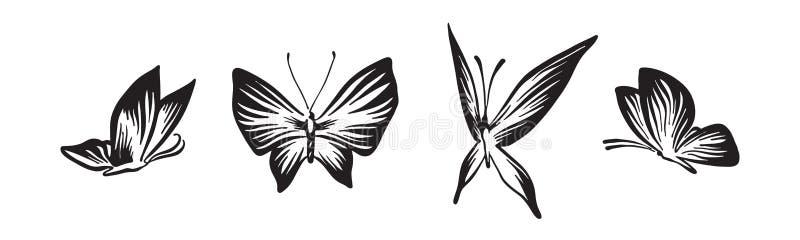 Handgezogene Schmetterlingssatz-Entwurfsskizze Vektorschwarz-Tintenzeichnung lokalisiert auf wei?em Hintergrund Grafische Illustr vektor abbildung