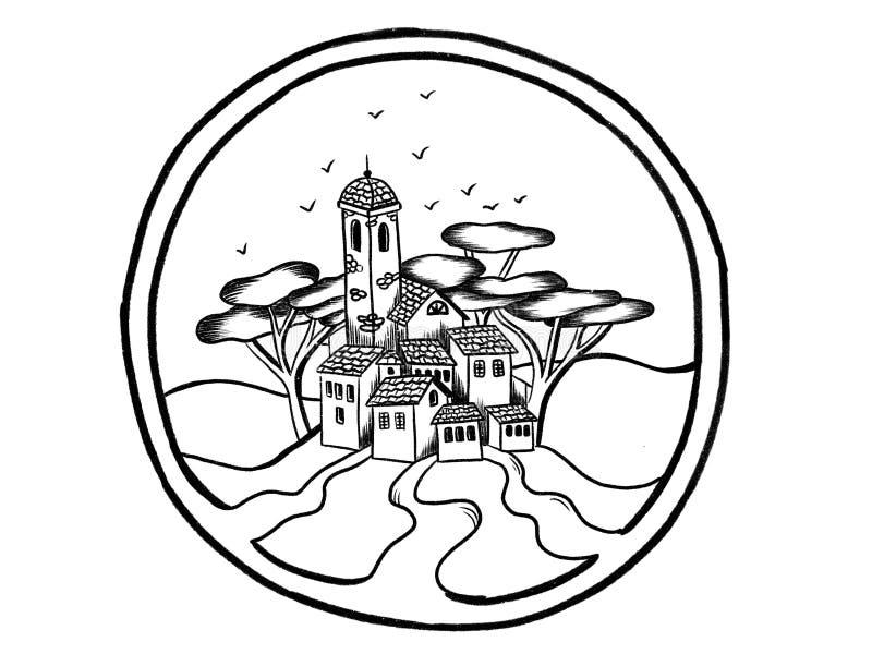 Handgezogene Skizze der italienischen Stadt des kleinen Landes mit dem Ziegelstein alt vektor abbildung