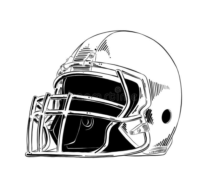 Handgezogene Skizze des amerikanischen Football-Helms im Schwarzen lokalisiert auf weißem Hintergrund Ausführliche Weinleseradier stock abbildung