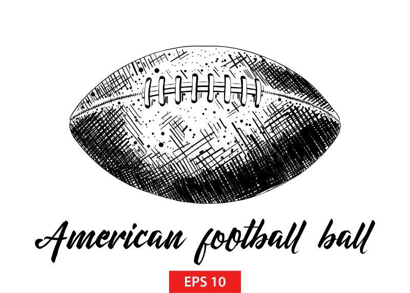 Handgezogene Skizze des Balls des amerikanischen Fußballs in Schwarzem lokalisiert auf weißem Hintergrund Ausführliche Weinlesera stock abbildung