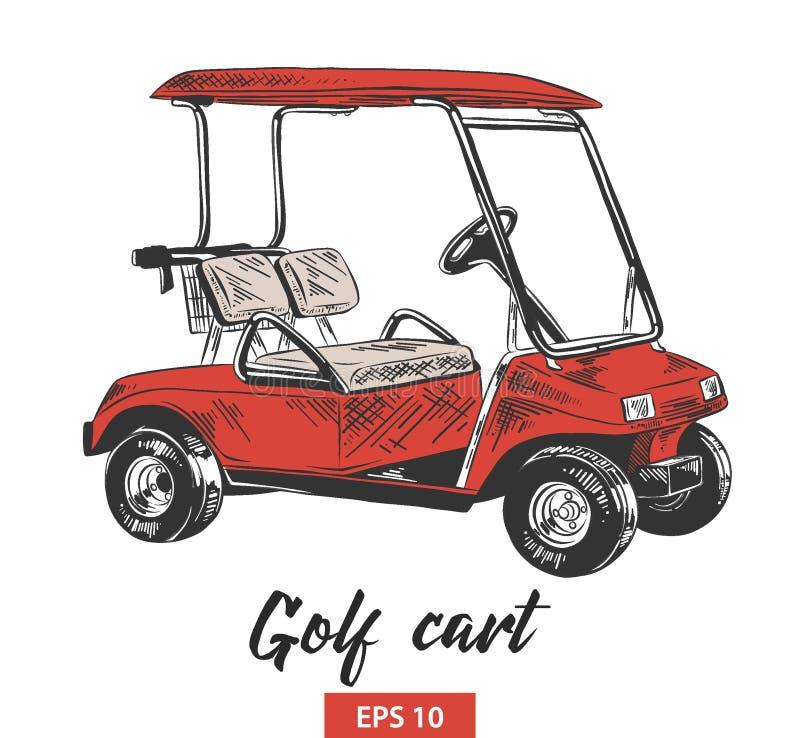 Handgezogene Skizze des Golfmobils im Rot lokalisiert auf weißem Hintergrund Ausf?hrliche Weinleseradierungs-Artzeichnung lizenzfreie abbildung