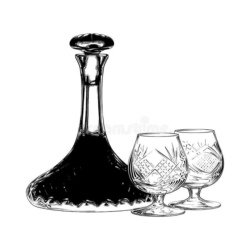 Handgezogene Skizze des jüdischen Weins im Schwarzen lokalisiert auf weißem Hintergrund Ausführliche Weinleseradierungs-Artzeichn stock abbildung