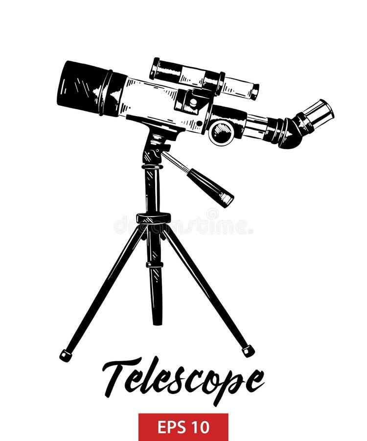 Handgezogene Skizze des Teleskops im Schwarzen lokalisiert auf weißem Hintergrund Ausführliche Weinleseradierungs-Artzeichnung lizenzfreie abbildung