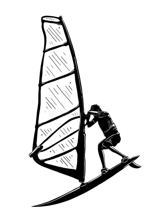 Handgezogene Skizze des Windsurfer im Schwarzen lokalisiert auf weißem Hintergrund Ausführliche Weinleseradierungs-Artzeichnung lizenzfreie abbildung