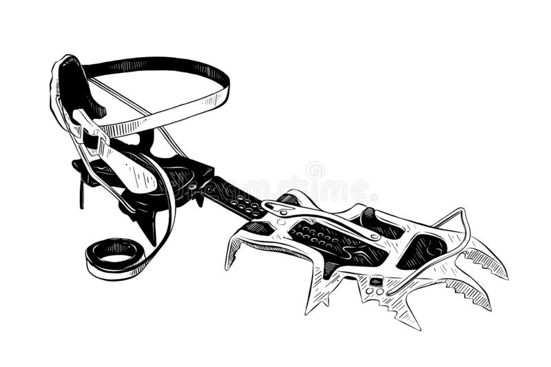 Handgezogene Skizze von den Eissteigeisen in Schwarzem lokalisiert auf weißem Hintergrund Ausführliche Weinleseradierungs-Artzeic lizenzfreie abbildung