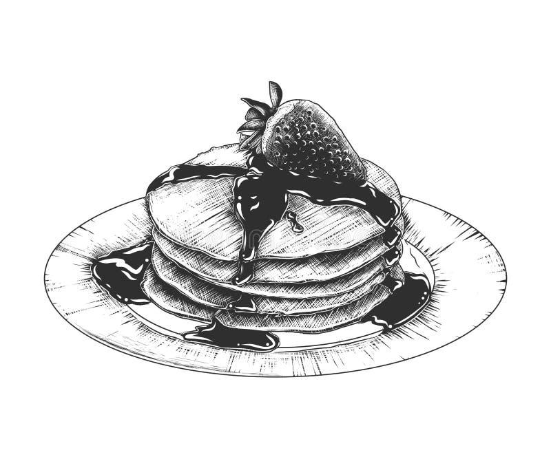 Handgezogene Skizze von Pfannkuchen auf der Platte im Monochrom lokalisiert auf weißem Hintergrund Ausführliche Weinleseholzschni vektor abbildung