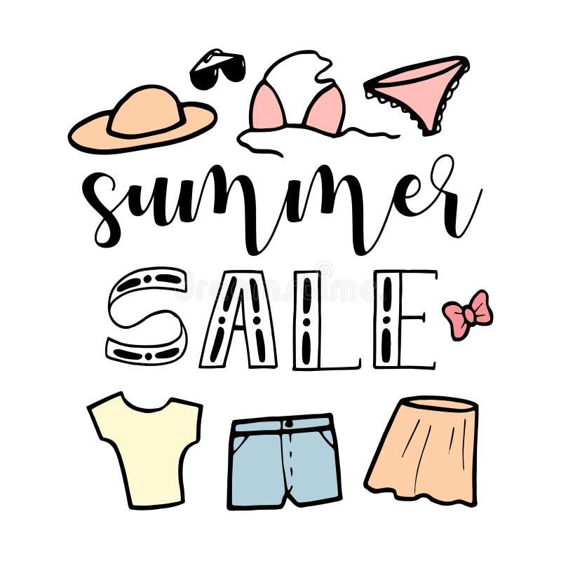 Handgezogene Skizzenillustration auf weißem Hintergrund, Gestaltungselemente Modesatz Sommerkleidung und -zusätze der Frau lizenzfreie abbildung