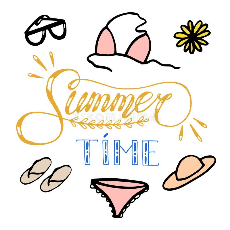 Handgezogene Skizzenillustration auf weißem Hintergrund, Gestaltungselemente Sommerkleidung und -zusätze der Frau beschriftung lizenzfreie abbildung