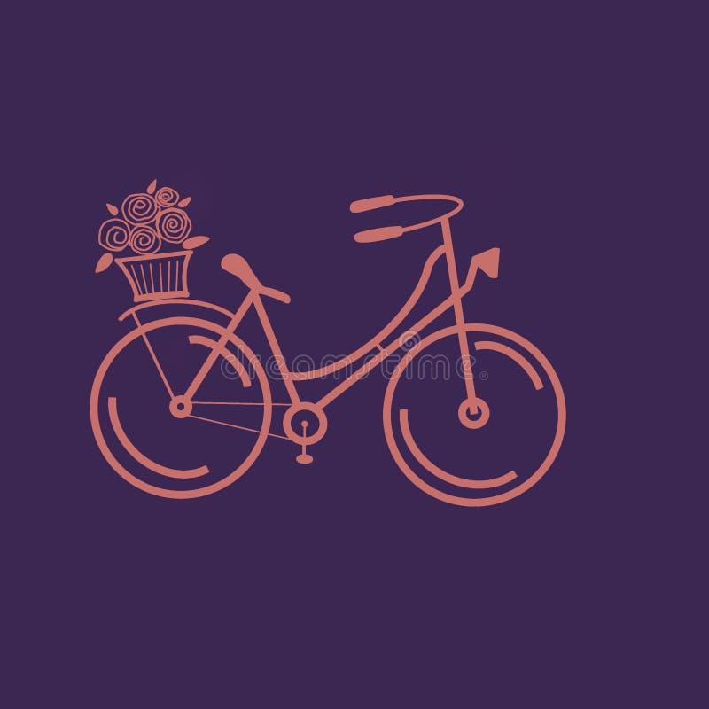 Handgezogene Skizzenillustration des korallenroten Fahrrades mit Korb von Blumen auf violettem Hintergrund lizenzfreie abbildung