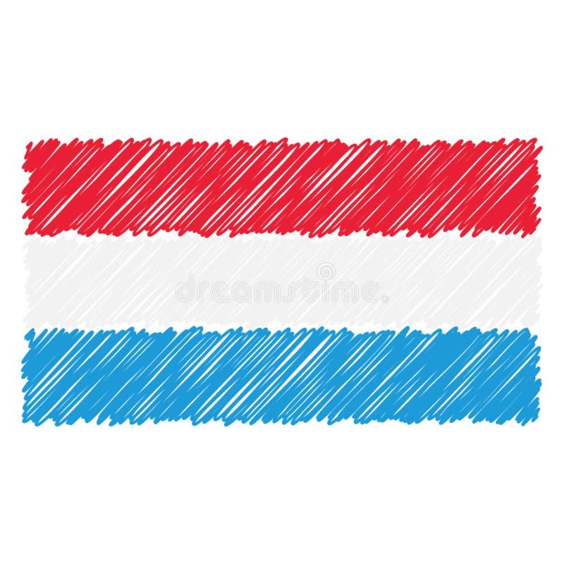 Handgezogene Staatsflagge von Luxemburg lokalisierte auf einem weißen Hintergrund Vektorskizzen-Artillustration stock abbildung