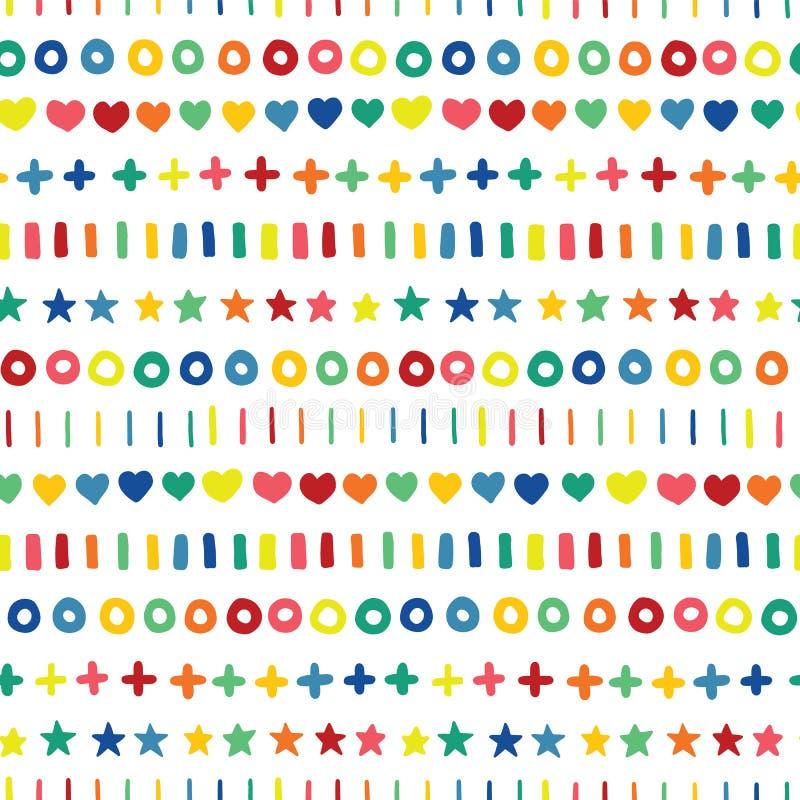 Handgezogene Sternherzkreiskreuze und -streifen in den Regenbogenfarben in Folge Ausgerichtete Handgezogene geometrische Formen a stock abbildung
