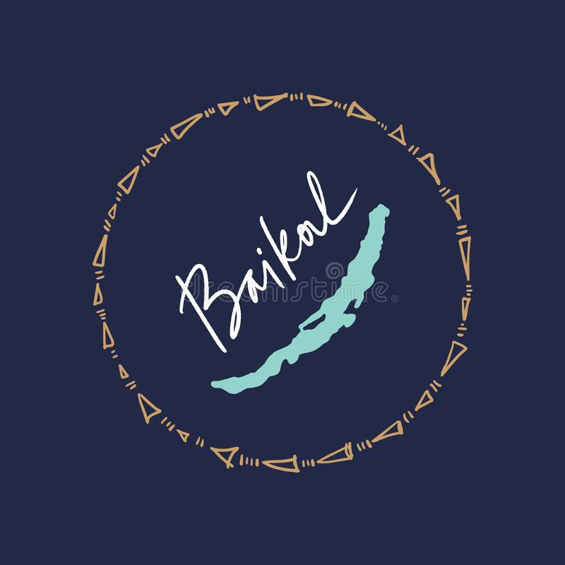 Handgezogene stilvolle Gekritzelkarte vom Baikalsee stock abbildung
