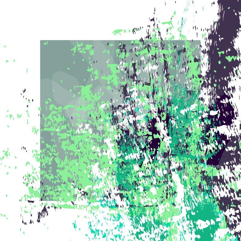 Handgezogene strukturierte Grün- und Marineblaubürstenanschläge wei?er Rahmen vektor abbildung