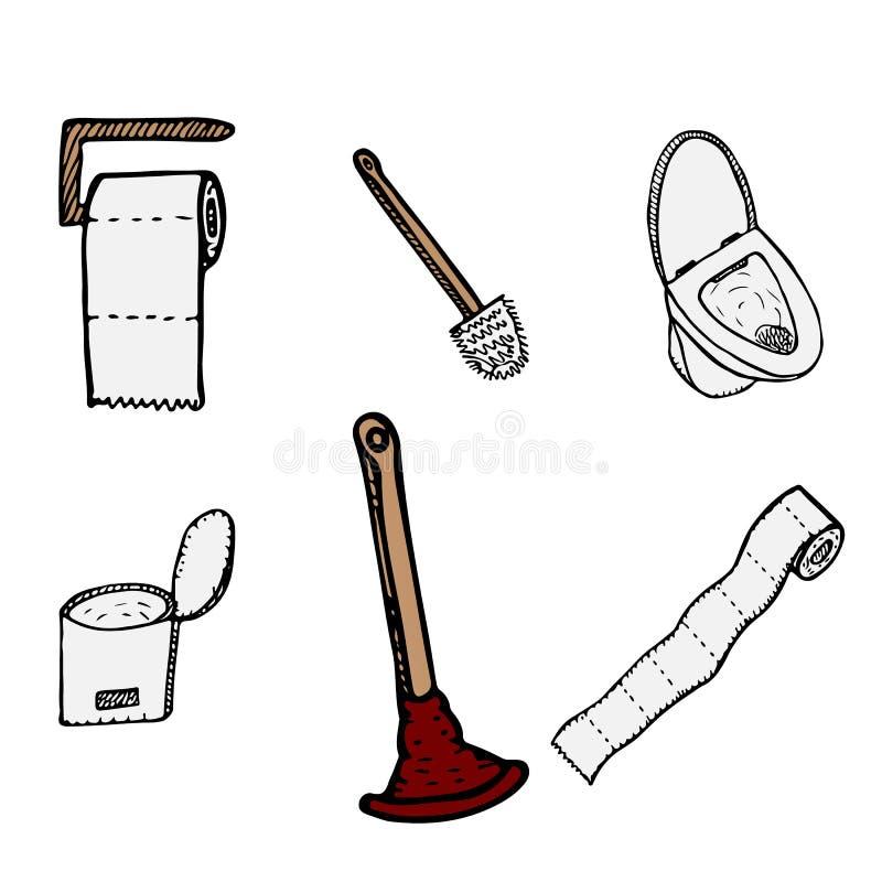 Handgezogene Toilettenschüssel plugner, Toilettenpapier, Eimer und Toilettenbürstenikonen lokalisiert auf weißem Hintergrund Vers stock abbildung