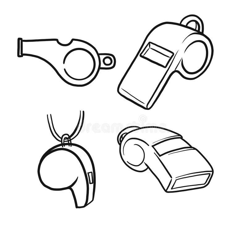 Handgezogene Vektor-Pfeifenikone f?r das Logo, Fahne, Plakat, Sportereigniseinladung oder Promoillustration lokalisiert auf wei?e stock abbildung