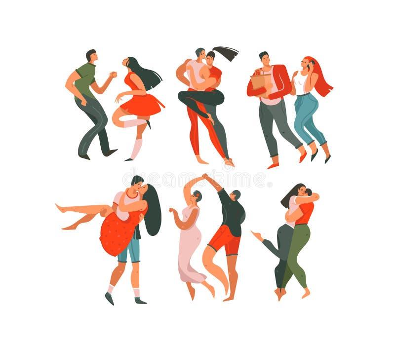 Handgezogene Vektorzusammenfassungskarikatur modernes grafisches glückliches Valentinsgrußtageskonzeptillustrations-Kunstsammlung vektor abbildung