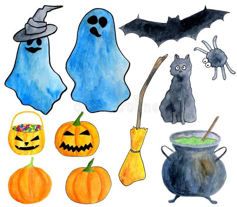 Handgezogener Aquarell-Halloween-Satz Geist, geschnitzter Kürbis, Gifttopf, Besen, schwarze Katze, Schläger, Spinne, Hexenhutclip vektor abbildung