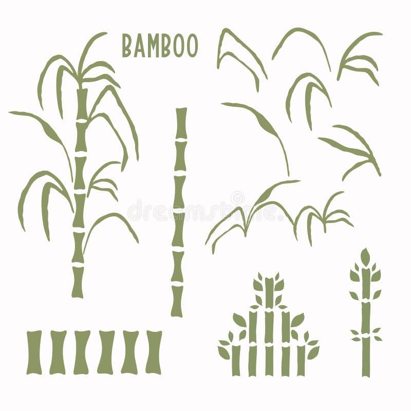 Handgezogener Bambusstamm, Kunstmotikkollektion Set von modernen Waggara japanese Stil Icons Grüne Grüntöne von weichem Gras asia stock abbildung