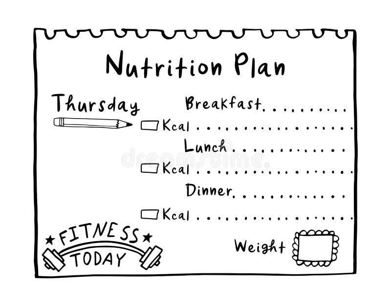 Handgezogener Diätplan in der Gekritzelart für Frühstück, das Mittagessen und Abendessen Gesundes Mahlzeitkonzept für Gewich vektor abbildung