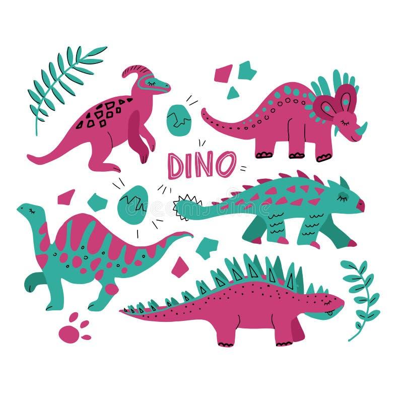 Handgezogener Dinosauriersatz und tropische Blätter Nette lustige Karikaturdino-Sammlung Handentwerfen gezogener Vektorsatz für K stock abbildung