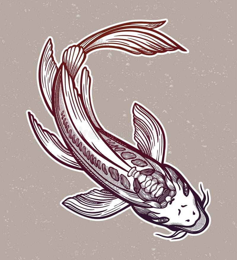 Handgezogener ethnischer Fische Karpfen - Symbol der Harmonie, Klugheit Vektorabbildung getrennt Geistige Kunst f?r T?towierung stock abbildung