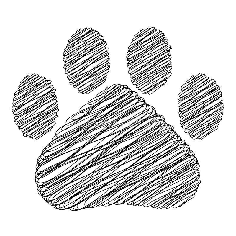 Handgezogener Gekritzelart-Katzenabdruck Auch im corel abgehobenen Betrag vektor abbildung