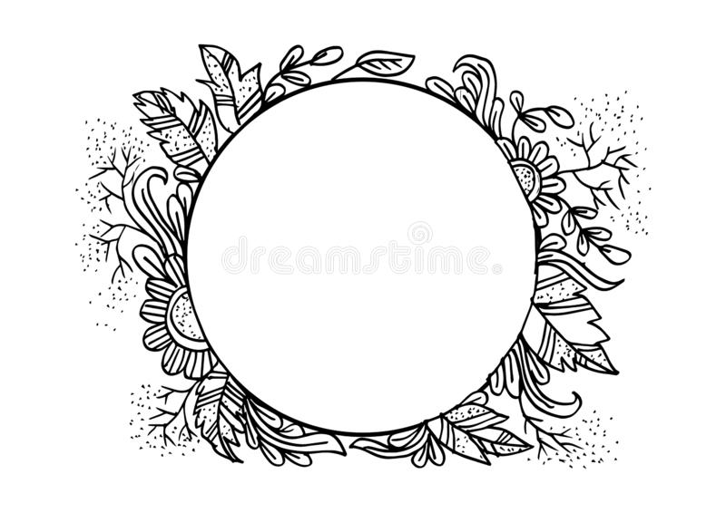Handgezogener gerundeter Blumenrahmen lizenzfreie abbildung