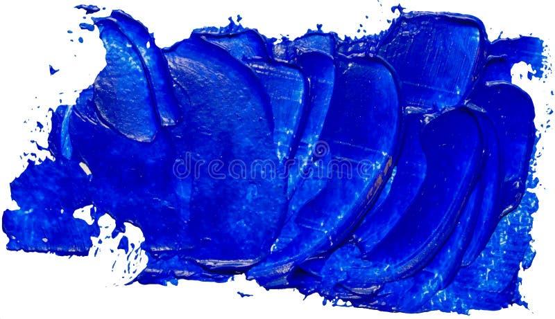 Handgezogener lokalisierter Malerpinselstreifen mit blauem Farböl lizenzfreie abbildung