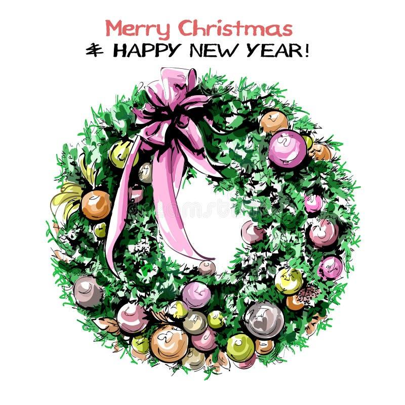 Handgezogener netter Weihnachtskranz mit Bändern, Bällen und Bogen Schöner Nobilistannenkranz vektor abbildung