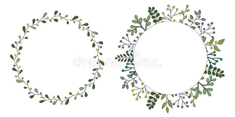 Handgezogener Satz des Blumenvektorkranzes mit grünen Blättern, Krautwald rund, netter rustikaler Rahmengrenzdruck lizenzfreie abbildung
