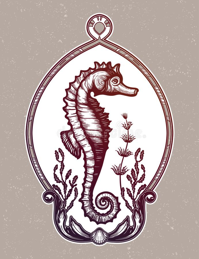 Handgezogener Seahorse mit Seeanlagen Weinlesevektorillustration vektor abbildung