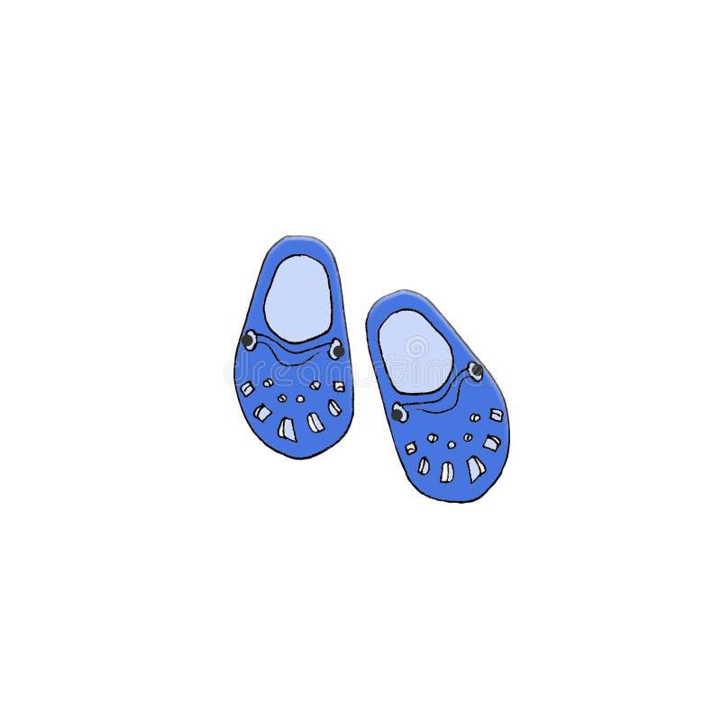 Handgezogener Skizzenillustrations-Pantoffelstrand mit weißem Hintergrund stock abbildung
