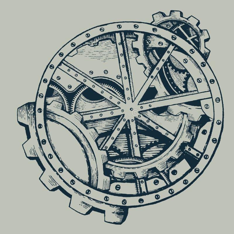 Handgezogener Steampunk-Kreishintergrund mit mechanischen Teilen, Zahnradrädern, Steampunk-Zahnradrädern vektor abbildung