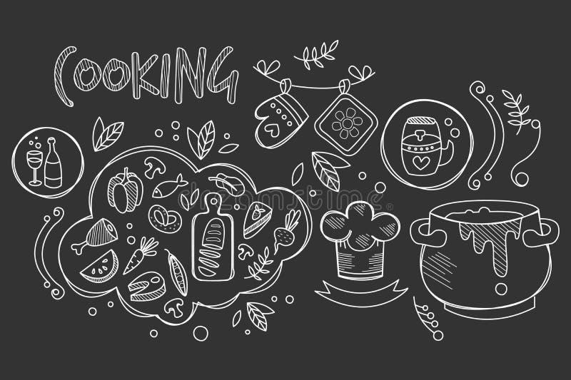 Handgezogener Vektorentwurf des Kochens von Bestandteilen und von Küchengeräten für Vorbereitungsteller Nahrung und Getränk kulin stock abbildung