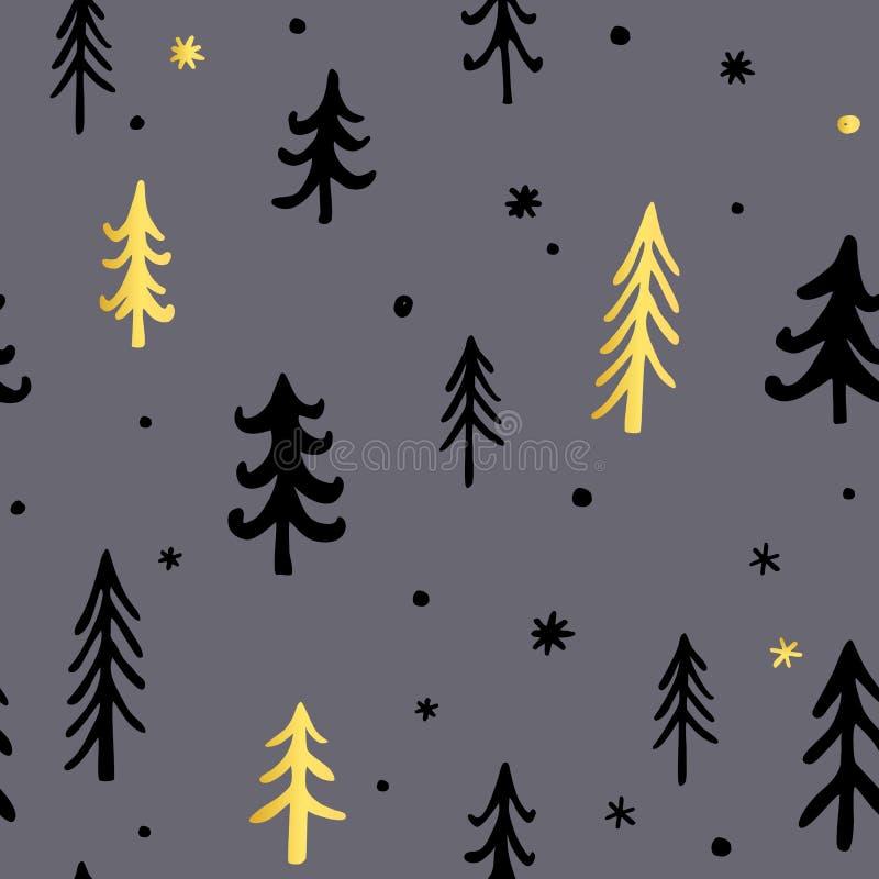Handgezogener Weihnachtshintergrund mit netten Tannenbäumen Vektor Stilvolle und angenehme Palette Tinte des Gekritzel-neuen Jahr stock abbildung