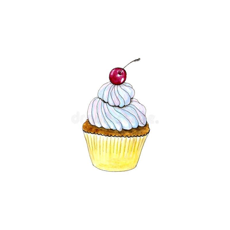 Handgezogenes Aquarell lokalisierter kleiner Kuchen mit Kirsche vektor abbildung