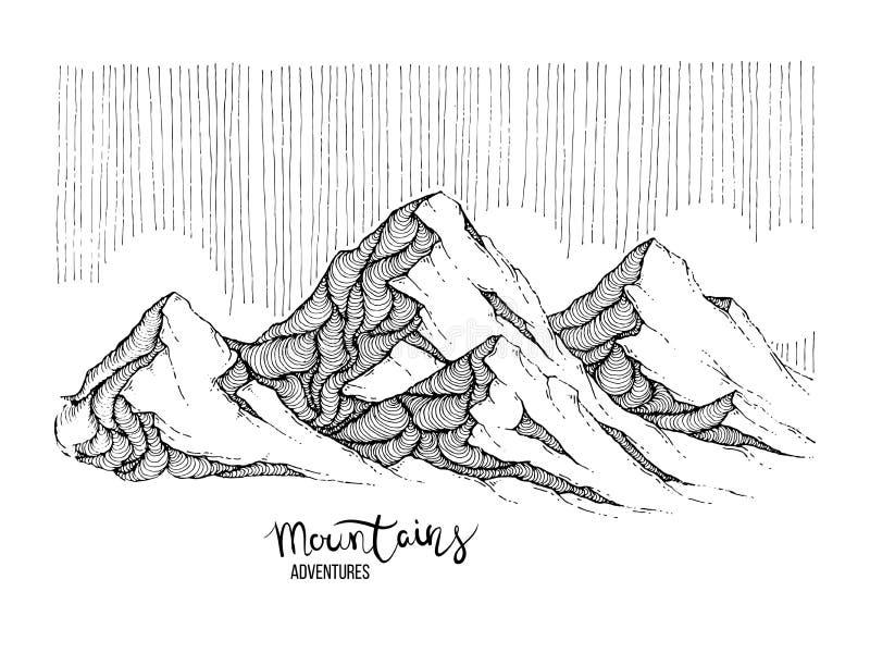 Handgezogenes Bild einer Bergspitze, Art gravierend, Schmutz gemasert stock abbildung