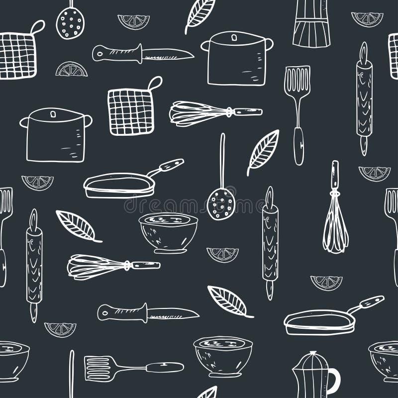 Handgezogenes Küchengeschirr auf einem Tafelhintergrund stock abbildung