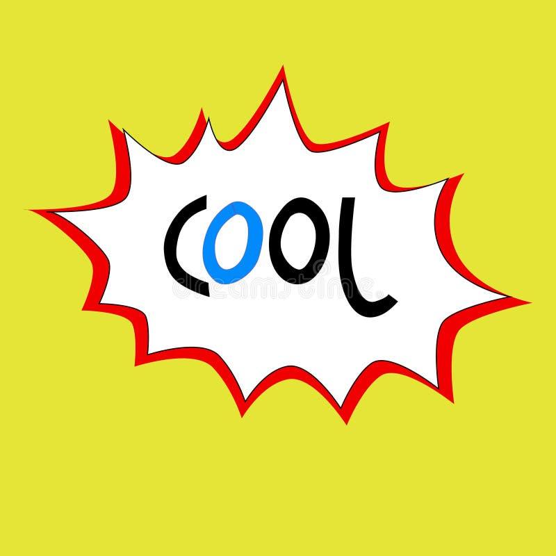 Handgezogenes kühles Wort in der hell-farbigen Spracheblase Lokalisiert auf Gelb vektor abbildung