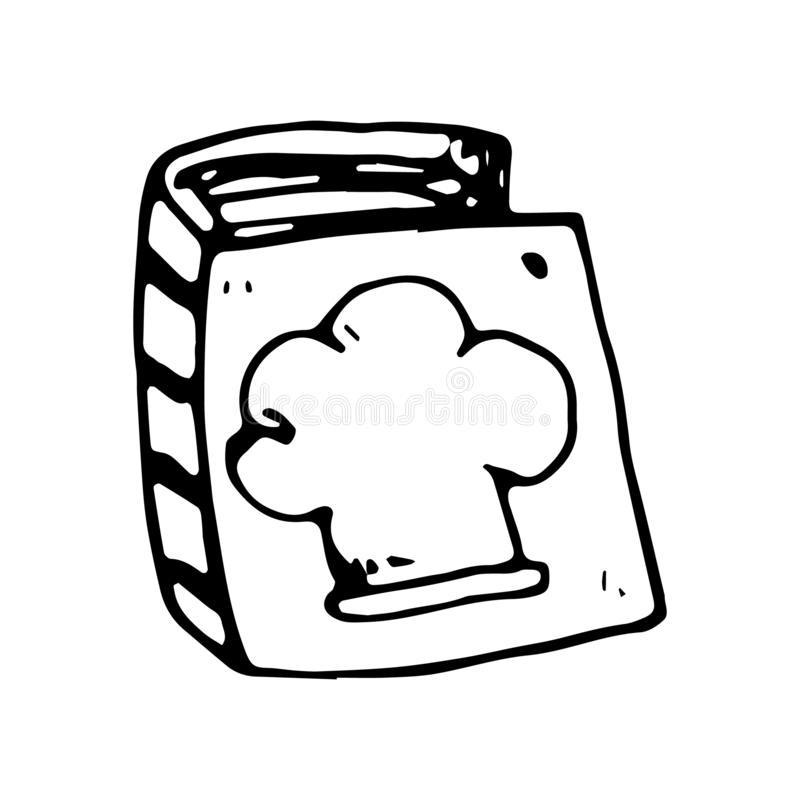 Handgezogenes Koch-Buchgekritzel Skizzenartikone Eingelassenes Genua, Italien Getrennt auf weißem Hintergrund Flaches Design Auch lizenzfreie abbildung