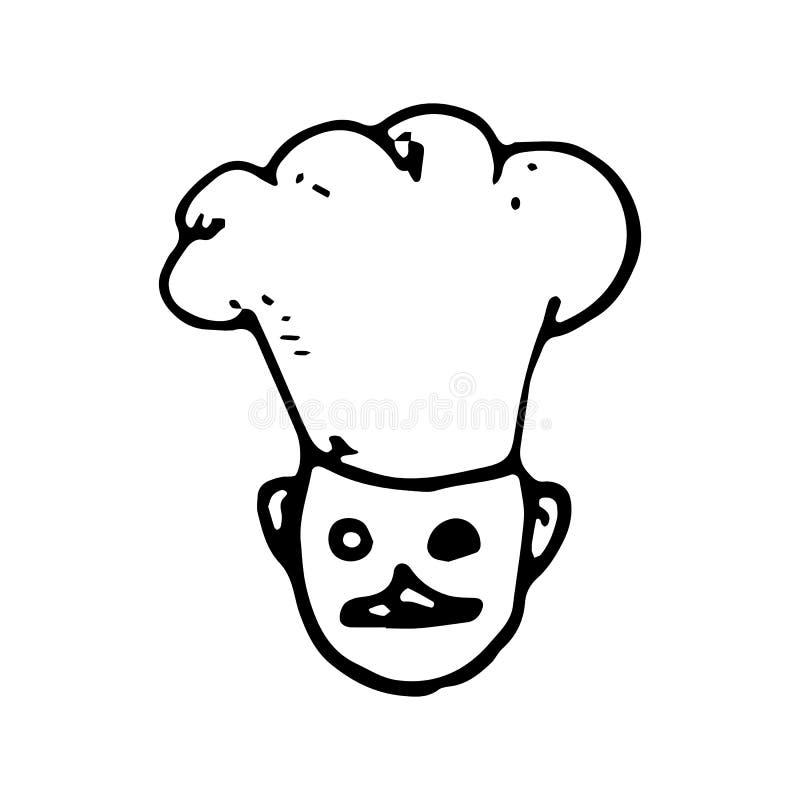 Handgezogenes Koch-Chefgekritzel Skizzenartikone Eingelassenes Genua, Italien Getrennt auf weißem Hintergrund Flaches Design Auch lizenzfreie abbildung