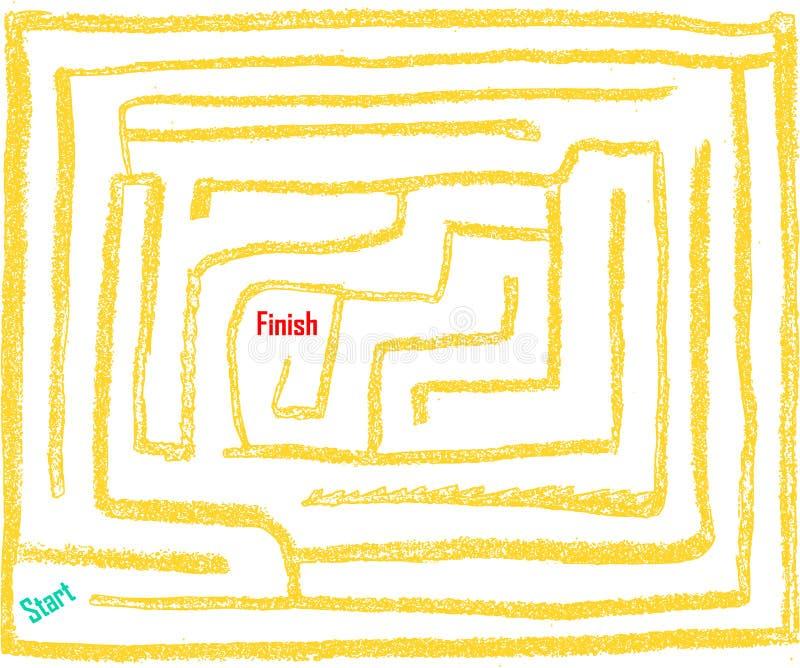 Handgezogenes Labyrinth Nr. neun, sehr einfach, Sonnenglühenfarbe vektor abbildung