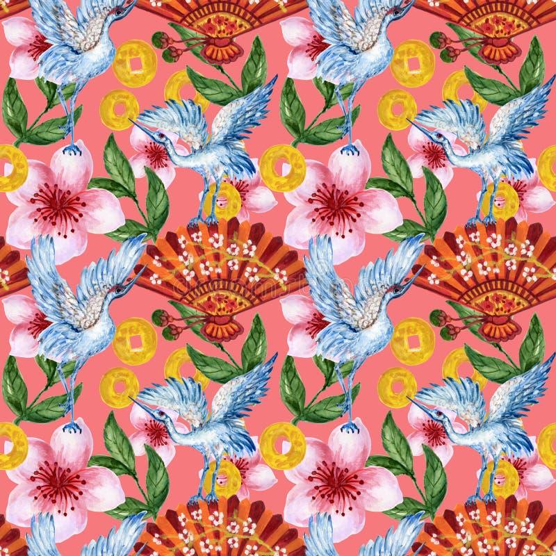 Handgezogenes nahtloses Hintergrundmuster angespornt durch chinesischen Koreaner- und Japan-Kimono yukata Hintergrundhintergrund- vektor abbildung